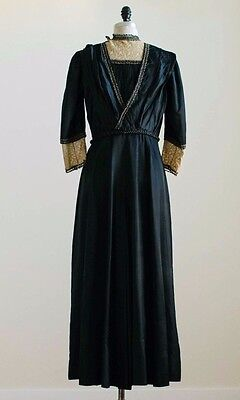 Antique Victorian black silk dress with cream embroidered lace glass beaded trim