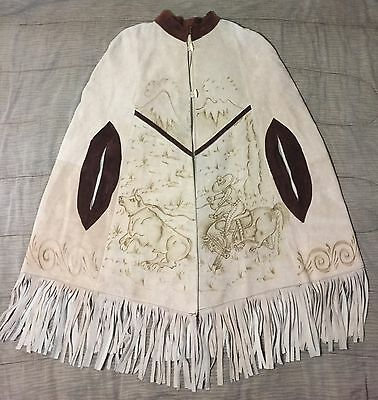 Indian Western Mexican Cowboy Bull Horse Suede Leather Fringe Poncho Shawl