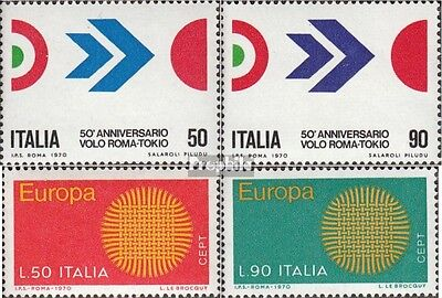 Italy 1307-1308,1309-1310 mint never hinged mnh 1970 First Flight Rome-Tokyo, Eu