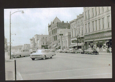 REAL PHOTO PERU INDIANA 1960's CARS DOWNTOWN STREET SCENE POSTCARD COPY