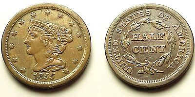 A/u 1855 Braided Hair Half Cent-Sharp & Attractive! Low Mintage! Free Shipping!