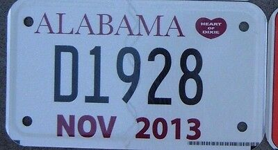 ALABAMA 2013  Motorcycle DEALER Cycle License plate   D 1928   ^