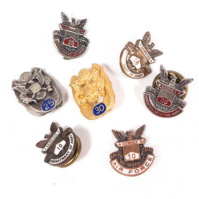 Lot of 7 Vintage 10, 20, 30 years Military Service of The Army Pins