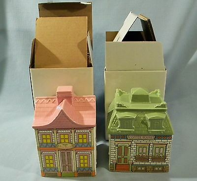 TOWNHOUSE Coffee & Tea Kitchen Canister Collection Victorian Houses AVON