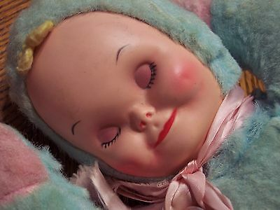 Estate Sale Vintage Rubber Face Sleeping Plush Baby Doll With Music Box NTLC