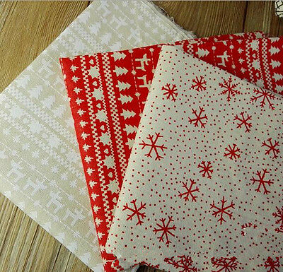 Christmas Printing Pattern Cloth Natural Cotton Linen Fabric Sewing DIY