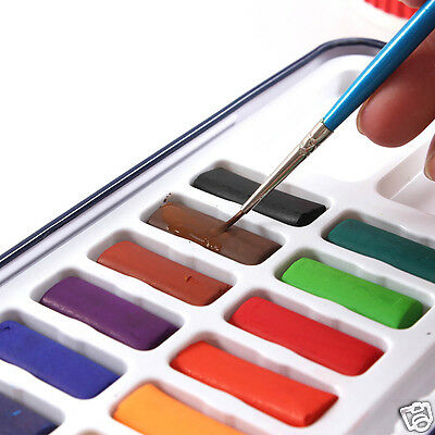 12/28/24 Colors Solid Watercolor Paint Set Blue Tin Box Drawing Painting Gift