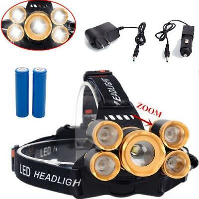 80000LM Zoomable 5x T6 LED Rechargeable 18650 Headlamp Head Light Torch