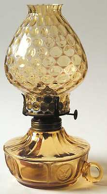 Fostoria COIN GLASS AMBER Oil Courting Lamp & Globe 2415243