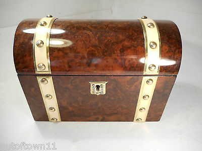 Antique Burr Walnut Domed Top Tea Caddy Box   ,   ref 1046