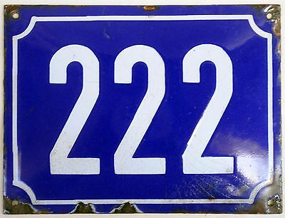 Big blue French house number 222 door gate plate plaque enamel steel metal sign