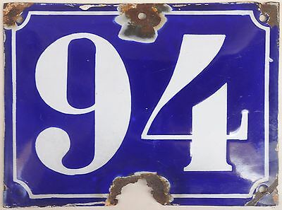Big blue French house number 94 door gate plate plaque enamel steel metal sign