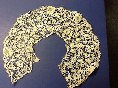 Antique Tatted Delicate  Lace Cut Round Ecru Ivory Collar