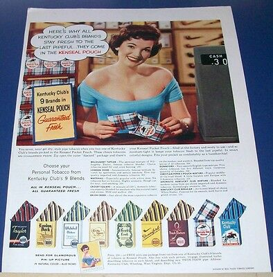 1956 Kentucky Club tobacco Kenseal Pouch Ad~Sexy Woman