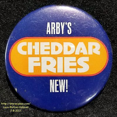 """LMH PINBACK Button Pin  1988 ARBY's Promo  CHEDDER FRIES NEW!  French Fry 3"""""""