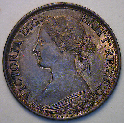 1865 Bronze Small 8 Farthing Great Britain UK Coin Almost Uncirculated