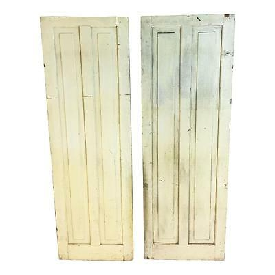 2 Vintage WOOD CABINET DOORS mortised rustic cupboard yellow pair panel cottage
