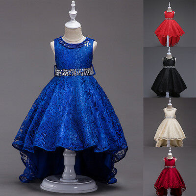 HOT Flower Girl's Dresses Lace Flower Kids Wedding Bridesmaid Formal Party Dress