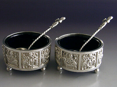 Victorian Indian Style English Sterling Silver Salt Cellars 1895 Antique
