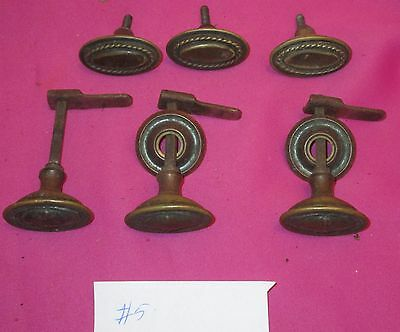 6 Antique Brass Cabinet Handle Pulls Knobs And Latches Restoration Salvage  #5