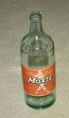 Vintage Moxie Ted Williams Boston Red Sox  Baseball Motiff Label Soda Bottle