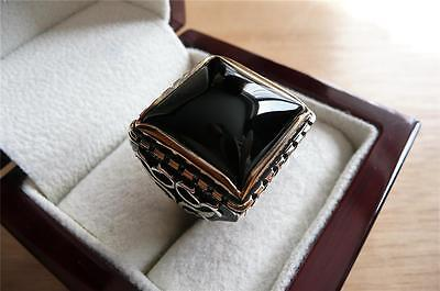 Heavy Ethnic 925 Sterling Silver Cabochon Black Onyx Mens Signet Ring Size R 9