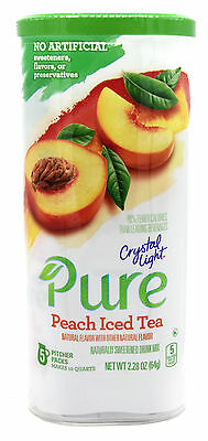 12 10-Quart Canisters Crystal Light Pure Peach Iced Tea Drink Mix