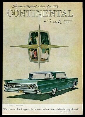1959 Lincoln Continental Mark IV green car art vintage print ad
