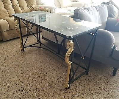 Chic Neoclassical Iron Console With Deco Inspired Brass Horse Heads P