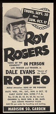 1954 Roy Rogers photo Madison Square Garden Rodeo vintage print ad