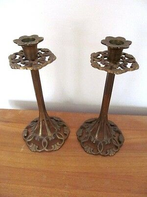 A Lovely Pair Of Ornate Art Nouveau Brass Candle Sticks.