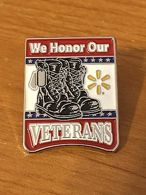 Rare Walmart Lapel Combat Boots We Honor Our Veterans Spark  Wal-mart Pinback