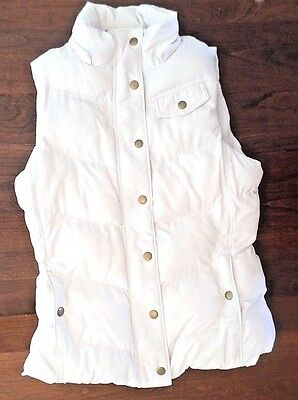 BANANA REPUBLIC Women's Size Small White Quilted Puffer Vest Faux Fur Lining