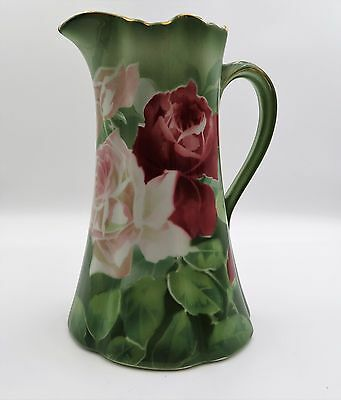 """EXQUISITE 9 1/2"""" K & G Luneville FRANCE GREEN LEAVES AND PINK ROSES PITCHER"""