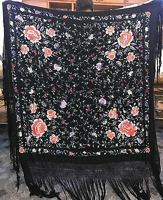"""Antique Chinese Silk Hand Embroidered Piano Shawl Pure Silk 59"""" By 61""""Fringe 21"""""""