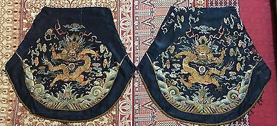 2 Imperial Qing Dynasty Silk Embroidery Dragon Panel Tapestry 22'' X 25''
