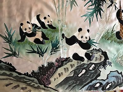 Antique Chinese Hand Embroidery Scenery,Banner,Wall Hanging Panda On Silk