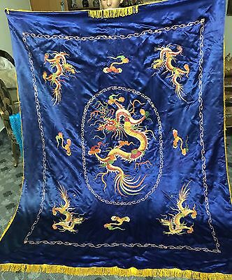 Chinese Oriental Hand Embroidery Textile Silk Five Claw Dragon Multi Thread Work
