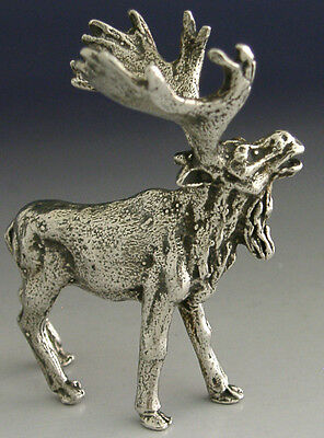 QUALITY CAST SOLID SILVER MOOSE ELK ANIMAL FIGURE c1950 49g HUNTING SHOOTING