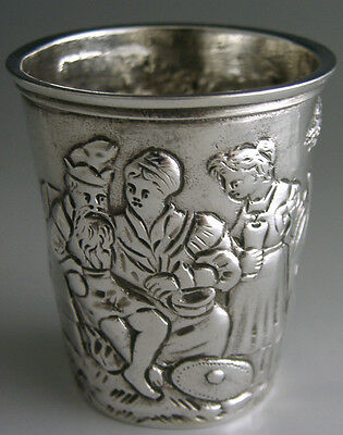 Victorian Sterling Silver Whisky Tot Cup 1892 German Hanau Antique Fire Scene