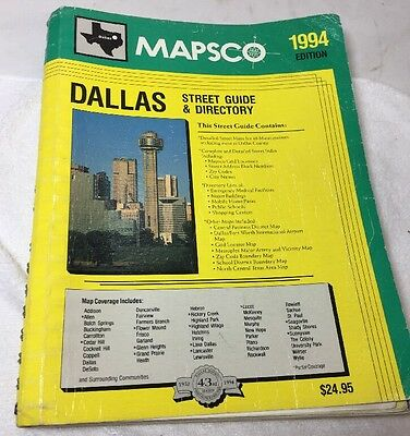 Vintage 1994 Dallas Mapsco with Street Index Guide & Directory Spiral Map