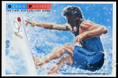 1987 surfer Tom Curren surfing art Op Ocean Pacific fashion vintage print ad