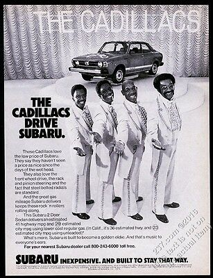 1979 The Cadillacs doo-wop group photo Drive Subaru car vintage print ad