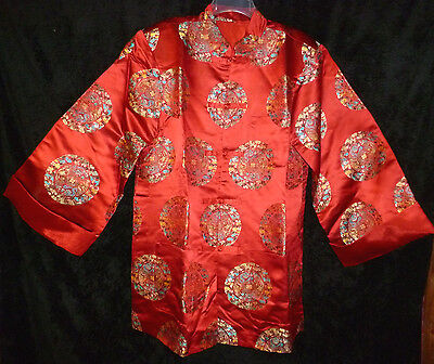 Asian Chinese Red Silk Patterned Jacket Robe