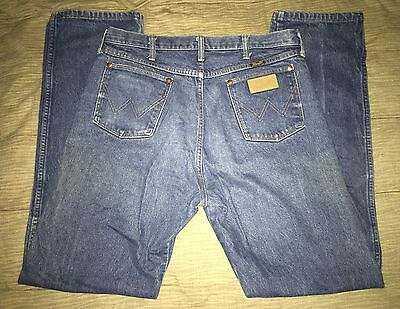 Vintage Wrangler 13MWZ Denim Blue Jeans Cowboy USA Made 35x33 Ranch Wear