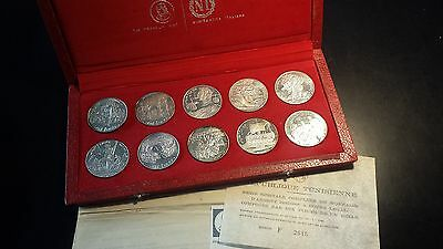 Tunisia 1969 Franklin Mint Proof Sterling Silver 10-Coin 1 Dinars with Box & COA