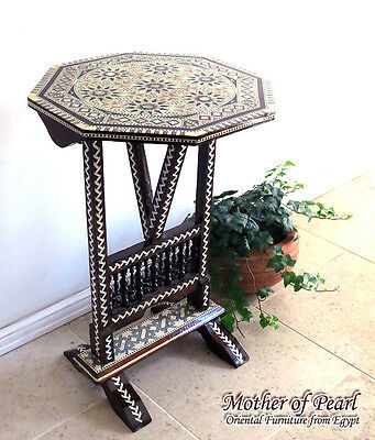 Egyptian Moroccan Inlaid Mosaic Mother Of Pearl Wood Table Folding