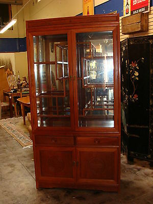 Vintage Modern Chinese Rosewood Display Cabinet Carved with Drawers.