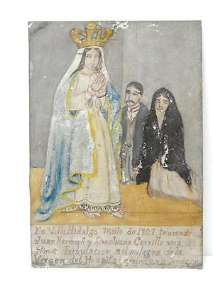 1907 Tin Mexican Religious Ex Voto Retablo Mexico Catholic Christian Folk Art
