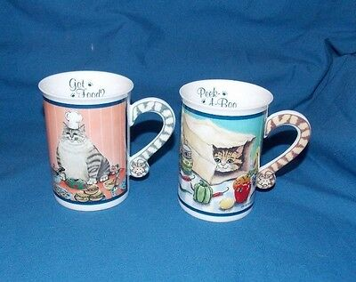 Set of 2 Comical Cats Mug GOT FOOD? PEEK-A-BOO Danbury Mint by Gary Patterson